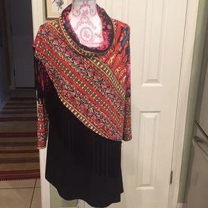 Fringed Asymmetrical knit fringed tunic